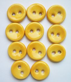 Sunny Yellow Ceramic Buttons by buttonalia on Etsy, $22.00