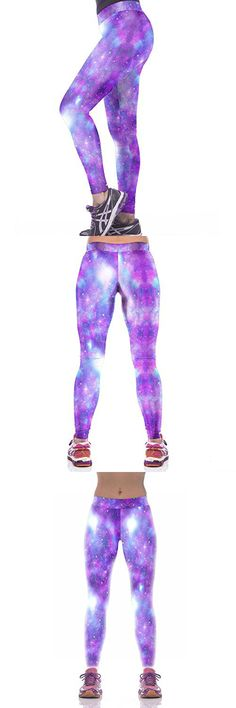 Slimming Girl Purple Galaxy Print High Waist Tight Fitness Skinny Sport Yoga Leggings Medium