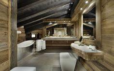 Chalet Edelweiss Courchevel 1850 master bathroom with bath tub Chalet Design, Chalet Style, Alpine Chalet, Swiss Chalet, Chalet Interior, Interior Design, Courchevel 1850, Alpine Style, Luxurious Bedrooms