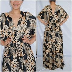 NWT Fashion Women Long Dress Vintage Polka dot Kimono sleeve Maxi Dress size 3XL | eBay