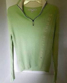 Womens Tommy Hilfiger Embroidered Green Long Sleeve Turtleneck Zipper Sweater L