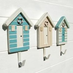 bathroom towel hooks, hangers, beach huts, sea, children, kids