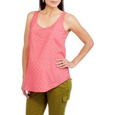 Faded Glory Maternity Woven Tank Top in Solid, Stripe and Print--available in plus size, Size: 2XL, Multicolor