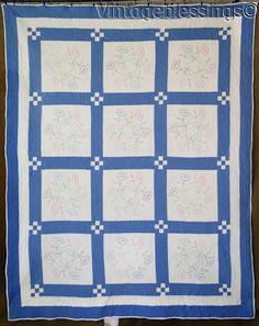 "www.Vintageblessings.com Gorgeous Hand Quilting! Vintage 20-40s Blue & White QUILT 83"" x 67"""