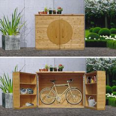 ShackUp Bikeinabox shed for your ride is a waist-height box with room for two bikes & shelves for all your helmets pumps tools etc. Garden Tool Storage, Shed Storage, Garden Tools, Outdoor Bike Storage, Bicycle Storage, Outdoor Spaces, Outdoor Living, Outdoor Decor, Bike Shelf