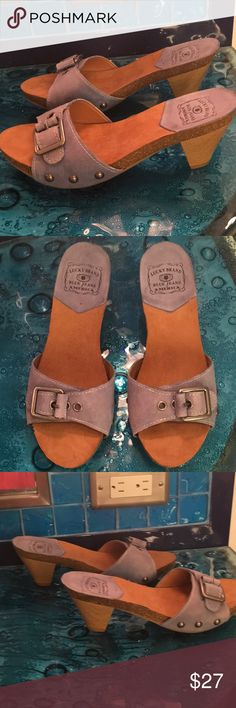 New beautiful sandals with small heel Never worn sandals with small heels . Blue gray , great for casual wear or dressy. Lucky Brand Shoes Sandals