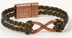 DIY Copper Continually Braided Flat Leather Bracelet
