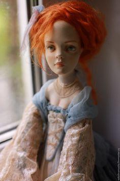 """Купить Подвижная кукла """"Ольга"""" - голубой, нежность, кукла ручной работы, кукла интерьерная"""