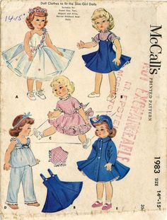 ORIGINAL Doll Clothes Pattern 1983 for 16 18 inch Sweet Sue Toni by Alexander