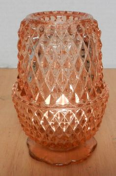 I Love Lamp, Fairy Lamp, Diamond Point, Lantern Candle Holders, Pink Depression Glass, Indiana Glass, Vintage Lamps, Carnival Glass, Lamp Light