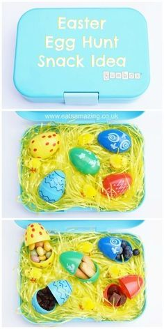 Fun Easter Snack Idea for Kids from Eats Amazing UK - Fill plastic eggs with finger foods - with lots of food ideas