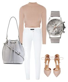 """Casual nude. White jeans with nude pumps and turtleneck crop top. #nude #whitejeans #greybucklebag"" by jagaka on Polyvore featuring moda, Steve Madden, Dolce&Gabbana, Jonathan Simkhai, MICHAEL Michael Kors i Triwa"