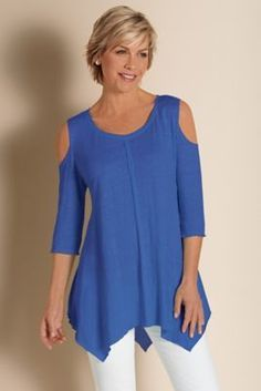 Sunset Top - Shoulder Cut Out Top, 3/4 Sleeve Tunic Blouse | Soft Surroundings