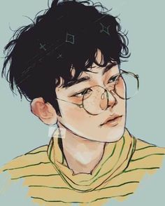 Aesthetic cute boy drawing Blue and Yellow main colours Features: Glasses and Freckles Kpop Fanart, Baekhyun Fanart, Inspiration Art, Art Inspo, Pretty Art, Cute Art, Kpop Anime, Anime Guys, Bel Art