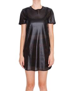 +Faux leather shift dress features small square laser cut outs all over