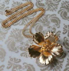 Vintage Cerrito Gold Wild Rose Pendant Necklace ~ #Vintage #Jewelry #Beauty #Rose #Gold #Fashion #Style #VintageJewelry #LOVE #Etsy by StarliteVintageGems