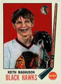 Topps Keith Magnuson, Chicago Blackhawks, Hockey Cards That Never Were Boston Bruins Hockey, Blackhawks Hockey, Chicago Blackhawks, Hockey Shot, Ice Hockey, Hockey Highlights, Hockey Cards, Sports Memes, National Hockey League