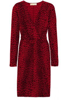 Michael Kors cheetah-print jersey dress. I had a short-sleeve version of this dress in high school...same red/black cheetah print with surplice front.  I wore it to a concert paired with a handcuff belt and black stilettos...I loved that dress!