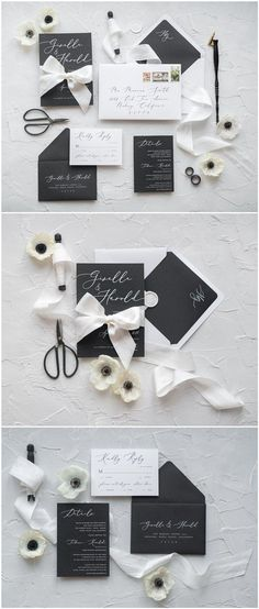 White and black calligraphy wedding invitations #weddinginvitation