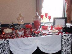 Wedding Candy Bar Table cloth idea