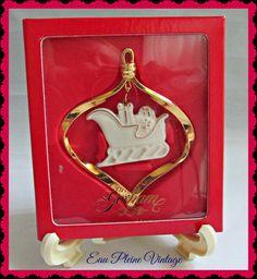 Gorham Christmas Ornament Porcelain Gold by EauPleineVintage