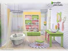 Little Bubbles bathroom set by SIMcredible! at TSR via Sims 4 Updates