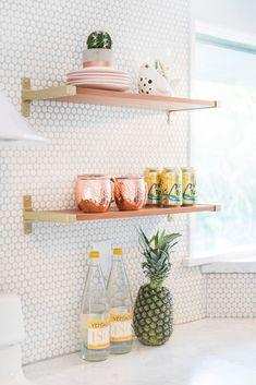 penny tile kitchen backsplash