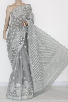Grey Hand Embroidered Lucknowi Chikankari Saree (With Blouse - Cotton) 14558 Saree Blouse Neck Designs, Blouse Designs, Indian Attire, Indian Wear, Indian Dresses, Indian Outfits, Grey Saree, Indian Silk Sarees, Sari Dress