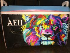 AEPi colorful lion, formal, fraternity cooler