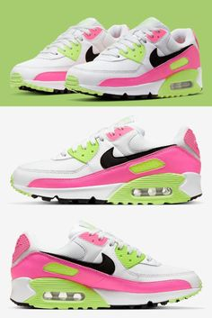 Nike continues to outfit its Air Max models in a playful, Ghost Green and Pink Blast colorway reminiscent of watermlon. The Air Max Nike Basketball Shoes, Nike Shoes, Retro Jordans 11, Nike Air Jordans, Nike Air Force, Nike Air Max, Nike Elite Socks, Air Max 95, Men Styles