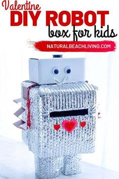 Robot Valentine Box is so much fun! A super cute Valentine's Day Card Box that you can easily make with recycled materials? Your kids will love this DIY Robot Valentine Box, Gather up your supplies and get ready to have fun creating this DIY robot! Valentines Robots, Valentines Day Cards Handmade, Happy Valentines Day Card, Valentine Activities, Valentine Crafts For Kids, Homemade Valentines, Valentine Box, Crafts For Kids To Make, Diy Robot