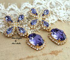 Purple Violet Chandelier RhinestonesBridal por iloniti en Etsy, $110.00