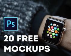 20 free mockups with Apple Watch. Two .psd files. One file contains 10 images.