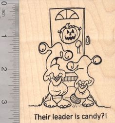 Halloween Alien Trick or Treat Rubber Stamp Their Leader is Candy -- You can find more details by visiting the image link.