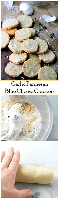 Garlic Parmesan Blue Cheese Crackers - Irresistible homemade cheese crackers rolled in crunchy sesame seeds. Homemade Crackers, Homemade Cheese, Savory Crackers Recipe, Homemade Biscuits, Appetizer Recipes, Snack Recipes, Cooking Recipes, Meat Appetizers, Vegetarian Recipes