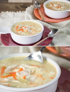 """Creamy Chicken """"Noodle"""" Soup {paleo, Whole30, grain-free, gluten-free, dairy-free} #paleo #whole30 by @ourpaleolife"""