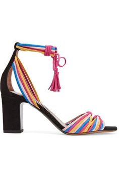 Heel measures approximately 75mm/ 3 inches Multicolored suede  Ties at ankle Made in Italy