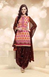 Traditional Style Unstitched Beige Color Amazing Patiala Suit