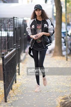 Cindy Bruna is seen wearing a fitness outfit and sneakers from Nike in the streets of Manhattn on November 8, 2016 in New York City.