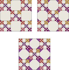 Snowball Quilt Block Patterns: Three sizes of Snowball Block tips shown alongside a Double Nine-Patch quilt block. Quilt Block Patterns, Pattern Blocks, Quilt Blocks, Quilting Tutorials, Quilting Designs, Quilting 101, Snowball Quilts, Irish Chain Quilt, Nine Patch Quilt