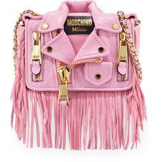 Moschino Jacket Shoulder Bag (3,260 BAM) ❤ liked on Polyvore featuring bags, handbags, shoulder bags, pink, zipper purse, zipper flap purse, chain handle handbags, woven handbag and woven purse