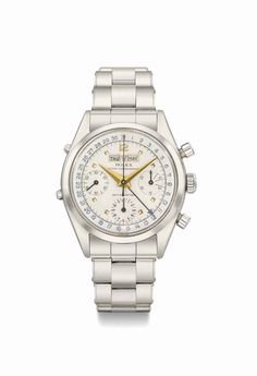 Rolex. A fine, rare and attractive stainless steel triple calendar chronograph wristwatch with two-tone silvered dial, circa 1958 #ChristiesWatches