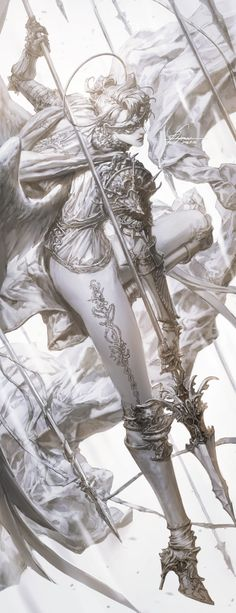 Knight Of Heaven, pilyeon . Art And Illustration, Illustrations, Manga Art, Anime Art, Art Sketches, Art Drawings, Digital Painting Tutorials, Pretty Art, Character Design Inspiration