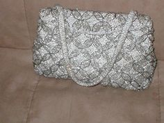 Vintage art-deco Silver Beaded Evening Purse