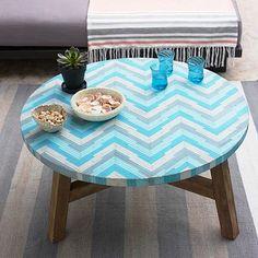 Mosaic Tiled Coffee Table - Aqua Glass, West Elm, $399