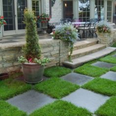 Patio and stepping stones Traditional Landscape, Traditional House, Outdoor Drapes, Outdoor Decor, Outdoor Ideas, Landscaping Tips, Garden Landscaping, Landscape Design, Garden Design