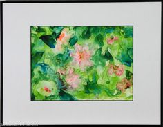 Original Watercolor on Yupo by Susan Marie Fairclough, Pink on Green, Framed 18X14