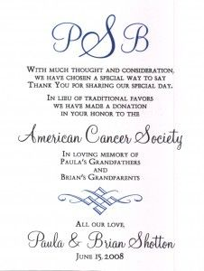 Wedding Gift Donation To Charity Wording : ... donation cards favor charity donation cancer wedding wedding donation