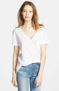 Main Image - Madewell 'Whisper' Cotton V-Neck Pocket Tee (with linen pants)