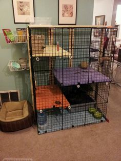 "Another awesome rabbit cage. Storage cubes, zip ties, PVC pipes to stabilize the shelves. 1""x3"" boards to help stabilize the height of the cage. The shelves are plywood that have been varnished to death (so no accidents get absorbed), covered in towels secured with binder clips."